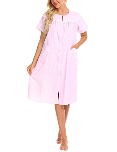 (Ekouaer Loungeweaer Women's Cotton Pajamas Dress Short Sleeve Sleep Dress Nightgown (Pink,M))
