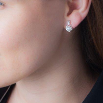 HISTOIRE D'OR - Boucles d'Oreilles Or Perle de Culture - Femme - Or blanc 375/1000 - Taille Unique