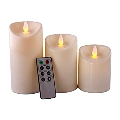 Romandle Flameless Candles LED Remote - Non-Wax Flickering, Dancing Flame - Unscented - Battery Operated - Candle Set - 8 Key Control - Timer - Indoor - Set of 3