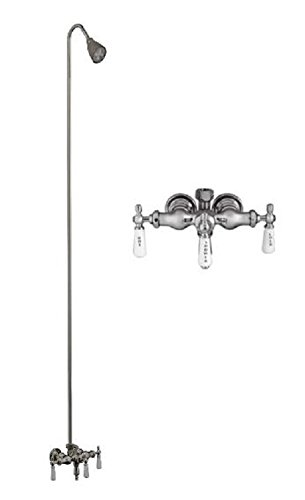 Barclay Leg Tub Diverter Faucet for Cast Iron Tub with Old Style Spigot, Riser and Adjustable Shower Head
