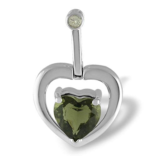 - Starborn Faceted Genuine Moldavite Heart Pendant