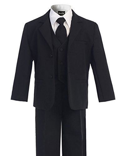 OLIVIA KOO Boys Classic Suit Set with Cloth Cover Buttons 10 Black - Classic Black Suit