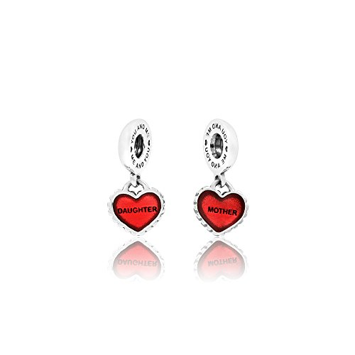 (PANDORA Piece Of My Heart, Mother/Daughter, Red Enamel Charm Pair )