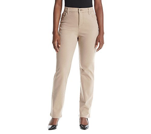 Jeans Button Five Petite (Gloria Vanderbilt Women's Petite Amanda Classic Tapered Jean, Perfect Khaki, 4P)