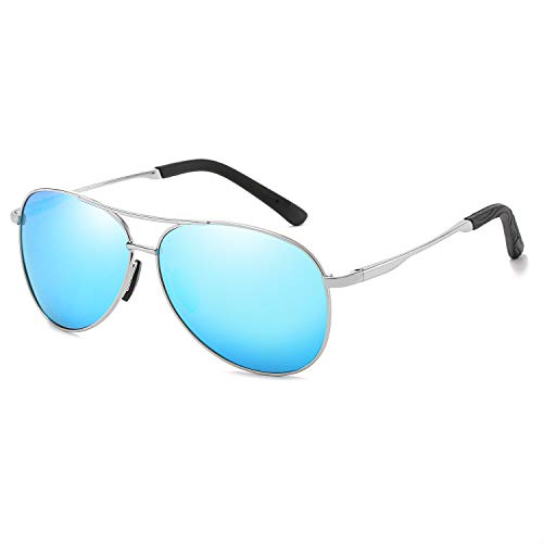 Polarized Aviator Sunglasses for Men and Women-100 UV Protection Mirrored Lens -Metal Frame with Spring Hinges (Silver Frame Blue Mirrored Lens)