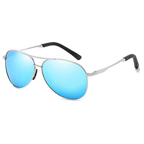 Mens Blue Mirrored Aviator Sunglasses - Polarized Aviator Sunglasses for Men and