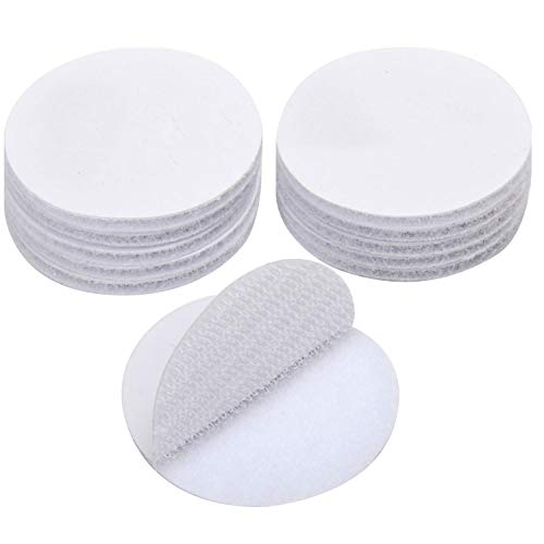 (BRAVESHINE Adhesive Dots Tape - Heavy Duty Round Sticky Pads Wall Mounting Fastener White Hook Loop Tape for Cable Management, Home or Office Use - Removable and Reusable - 12 Pack, Diameter 2 Inch)