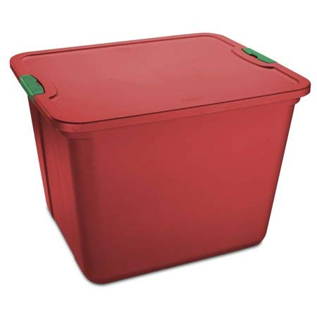 Mainstay 20 Gallon Latch Red Tote Plastic Storage
