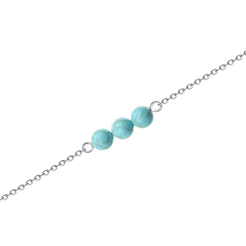 (Tiny Real Turquoise Bead Necklace - Minimalist Small Healing Natural Thin Vintage Silver Simple Cute Genuine Pure Round Kids Ladies Turquoise Dainty Stone Bead Collar Necklace Jewelry Small for Kids)
