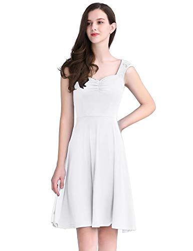 YOYAKER Women's Square Collar Floral Lace Cap Sleeve Casual Work Party Tea A-line Swing Dress White M