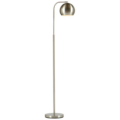 Rivet Adjustable Arm Mid-Century Floor Lamp, 59''H, With Bulb, Brushed Nickel by Rivet