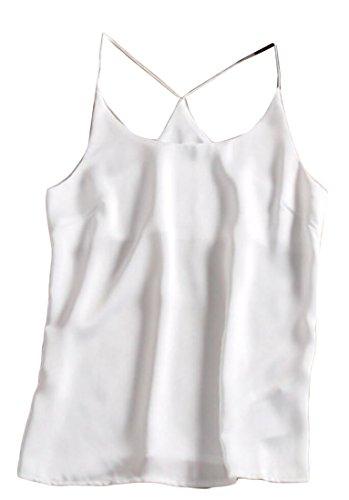 WSPLYSPJY Women's Spaghetti Strap Sleeveless Print Satin Cami Crop Top White (Print Satin Cami)