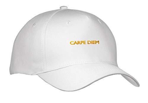 Uta Naumann Sayings and Typography - Carpe Diem - Trendy Gold Letter Typography on White Artprint - Caps - Adult Baseball Cap (Cap_289899_1) -