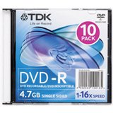 TDK Systems 10PK DVD-R 4.7GB 16X-BRANDED W/ SLIM JC ( DVD-R47FM10 ) (Discontinued by Manufacturer)