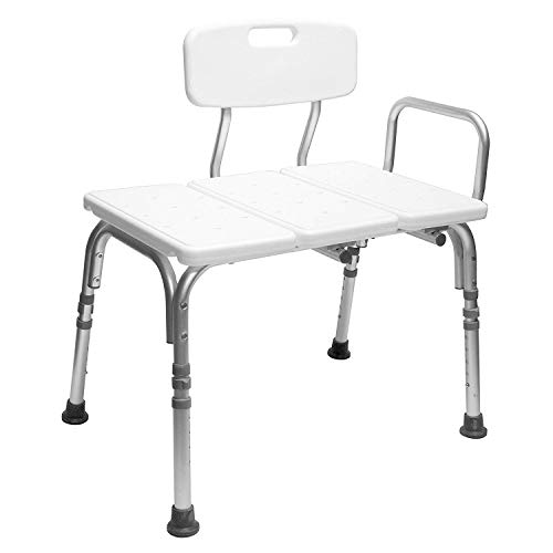 Right Convertible - Carex Tub Transfer Bench - Shower Chair Transfer Bench with Height Adjustable Legs - Convertible to Right or Left Hand Entry