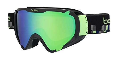 Bolle Explorer Goggles, Shiny Black Cubes, Green Emerald - Ski Goggles Bolle Kids