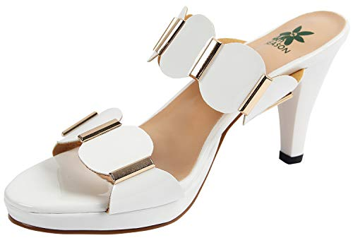 4th SEASON Women's High Heel Sandals Chunky Dress Mules Open Toe Platform Pump Sandal White US Size 7