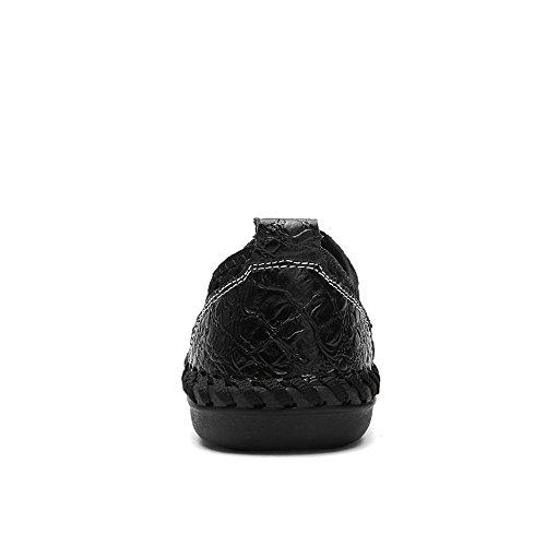 Color Zapatos sólido Plano de para tamaño tacón EU los Mesh Color de en Negro 45 shoes Slip Hombre Meimei Loafer Cxwtfqq