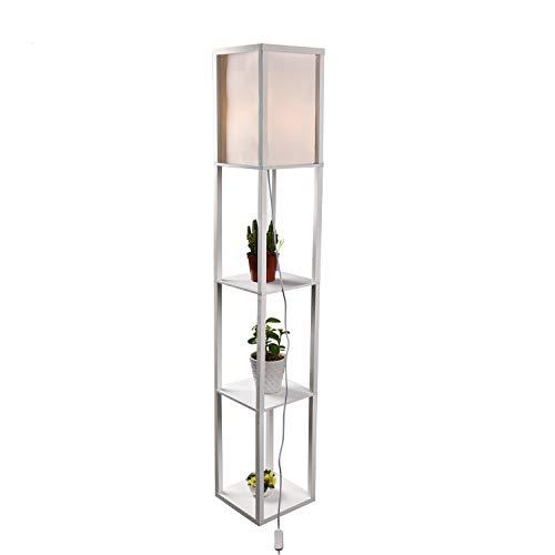 Wooden Shelf Floor Lamp Standing Tall Shelf Lamp with Linen Shade, 3 Shelves, UL-Listed Certified, 63