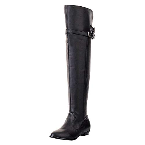 Knee High Boots For Women Black Liraly Long Boot Round Head High Belt Buckle Flat Shoes(Black,US-8 /CN-41)