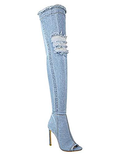 Autunno Autunno Ginocchio Denim Cielo Blu Strappati Minetom Stivali Boots Boots Scarpe Toe Mode Alti Sopra Jeans Donna Coscia Peep 5qwnPSTUx