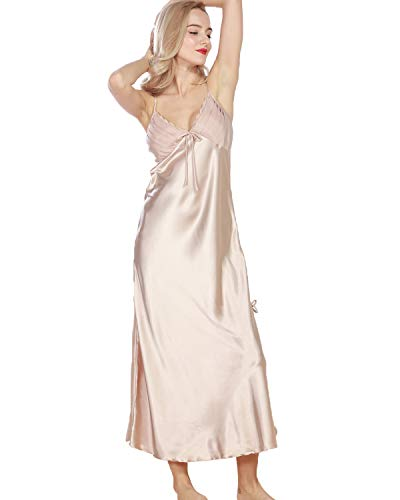 Shymay Women's Sexy Satin Nightgown Long Slip Sleeveless Paragraph Split Chemise Lingerie Sleepwear,Camel,Tagsize2XL=US 12 in USA