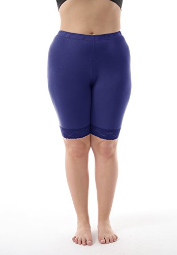 b44c26460eb ZERDOCEAN Women s Plus Size Modal Basic Mid Thigh Short Leggings with Lace  Trim Dark Blue 1X