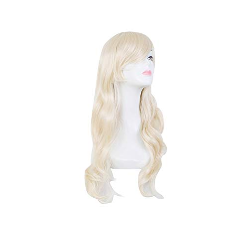 Blonde Wig zeoqo Synthetic Heat Resistant Oblique Bangs Long Wavy Hair Carnival Party Halloween Hairpiece,Blonde,24inches]()