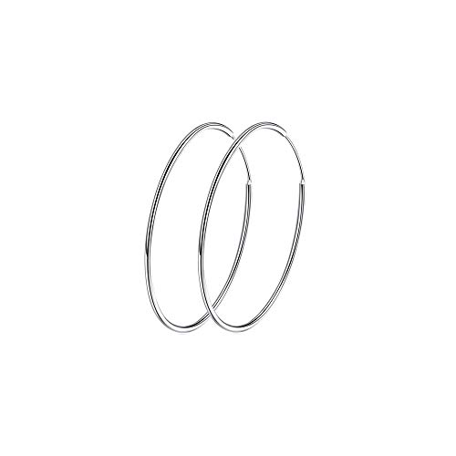 925 Sterling Silver Large Hoop Earrings Circle Endless Huggie Big Hoops Earring 50/60/70/90mm for Women Girls (30mm)