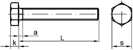 Stahl 2 Stk DIN 961 Sechskantschraube M16x1,5x80 Feingewinde ann/ähernd bis Kopf