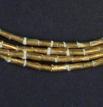 Trade Brass Beads - TheBeadChest Brass Ethiopian Tube Beads (6x4mm): Full Strand of African Metal Spacers for DIY Jewelry Making
