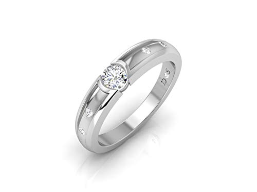 18K Gold with 0.40 Carats Satin Glossy Finish Flush Set Solitaire Diamond Mens Band Ring-RM1278 (I Color, SI1 Clarity)