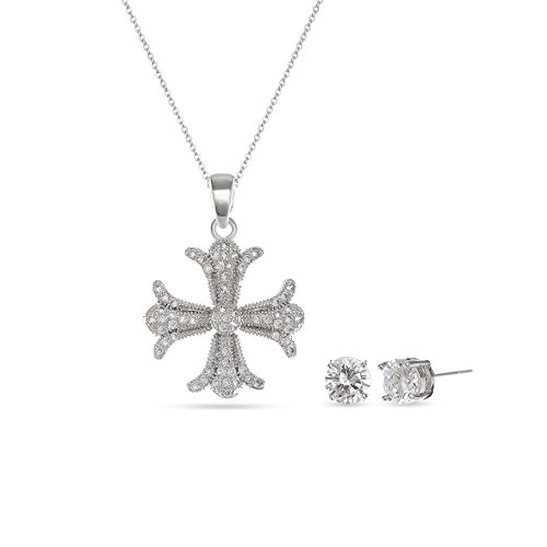 Elegant Flower Cross Jewelry Set - 14k White Gold Plated Cubic Zirconia Crystal Rhinestone Pendent Cross Necklace Earring Set For Party Holiday Vacation - Question Flower Swarovski Pendant About