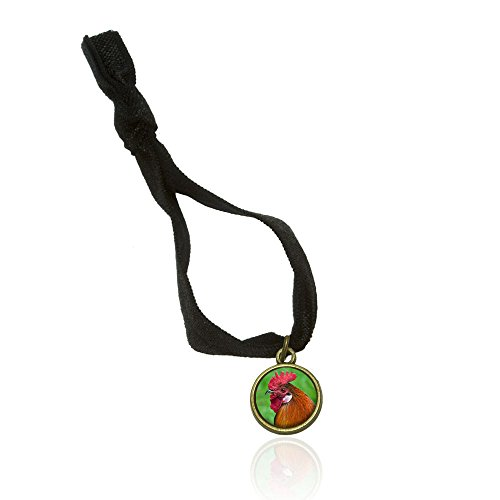 Rooster Cock a Doodle Doo No Crease Stretchy Elastic Fold Over Hair Tie and Charm