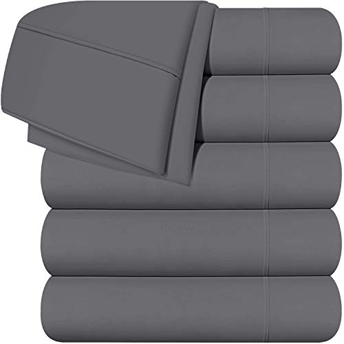 Utopia Bedding Queen Flat Sheets (Grey) Pack of 6