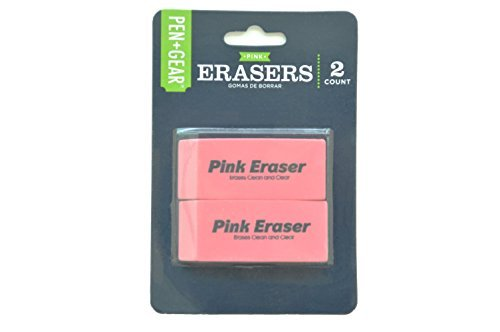 PEN+GEAR Smudge-Proof Pink Erasers 2 Count