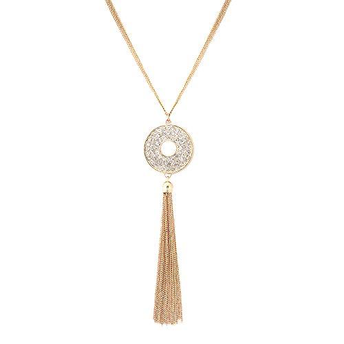 VUJANTIRY Multi Strand Long Tassel Necklace Crystal Round Disc Pendant Necklace Women Sweater Necklace - Round Crystal Disc