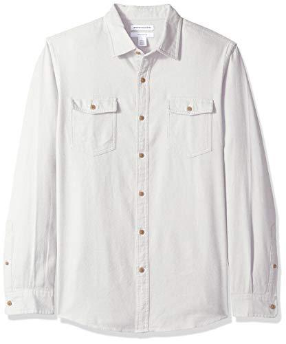 Essentials Mens Slim-Fit Long-Sleeve Solid Flannel Shirt