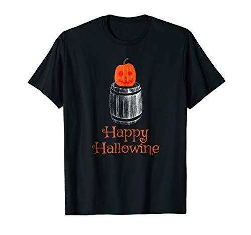 Hallowine Wine Lover Halloween Costume T Shirt Pumpkin -