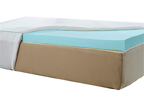 Natures Sleep Thick AirCool IQ King Size 3 Inch Thick 3.25lb Density Gel Memory Foam Mattress Topper with Microfiber Fitted Cover and 18 Inch Skirt ()