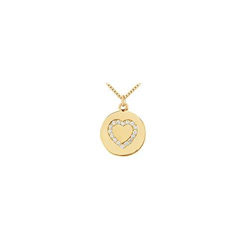 Diamond Heart Disc Pendant 14K Yellow Gold 0.15 CT Diamonds