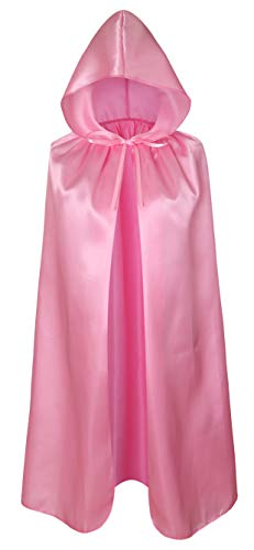 Crizcape Kids Costumes Cloak DIY Cape with Hood for Halloween Christmas Ages 2 to 18 (Pink, 60cm/Ages 2-4) -