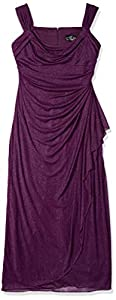 Alex Evenings Women's Long Cold Shoulder Dress (Petite and Regular Sizes)