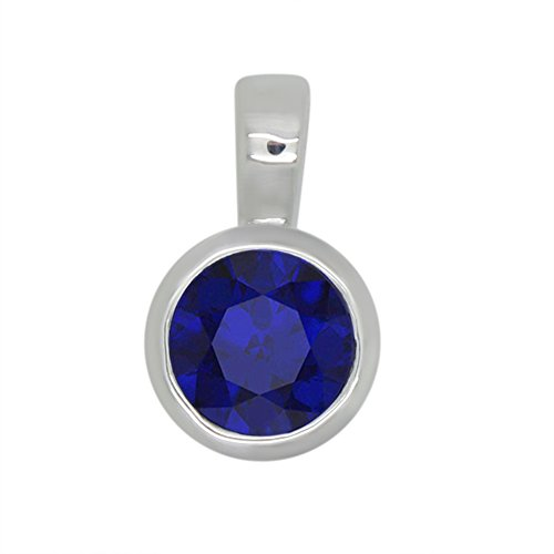 1.00 Ct Round Cut Lab-Created Blue Sapphire 925 Sterling Silver Bezel set Solitaire Pendant Without Chain