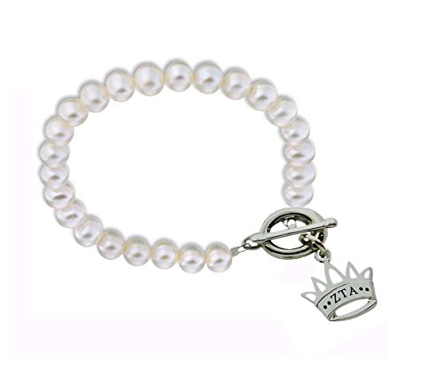 Zeta Tau Alpha Crown Sorority Pearl Bracelet with Toggle Clasp