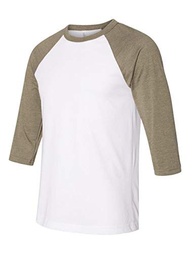 Bella Canvas Unisex Jersey 3/4 Sleeve Baseball Tee, Wht/ Hthr Olive, X-Large (Baseball Jersey Belle)