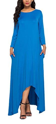Kleider Sommer Damen Elegante Casual Baggy Normallacks Lang Kleid Young Fashion Festlich Bekleidung Dresses A-Linie Maxikleid Irregular Saum Kleider Lange Blau kPSdvWP