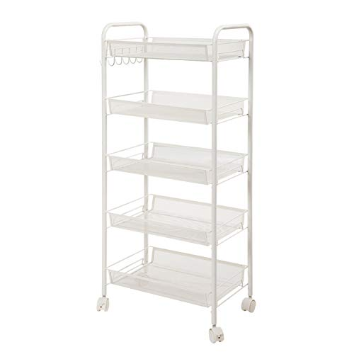 - Xy Litol Wire Shelving Unit and Storage - Steel Wire Basket Shelving Trolley, 5 Tier Kitchen Cart Ivory White