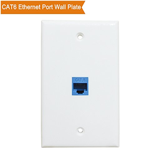 Ethernet Wall Plate 1 Port - ESYLink Cat6 Ethernet Port Wall Plate Female to Female - Blue