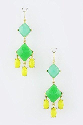 Trifari Triangle Earrings (TRENDY FASHION JEWELRY TRIANGLE DANGLE EARRINGS BY FASHION DESTINATION | (Turquoise/Yellow))